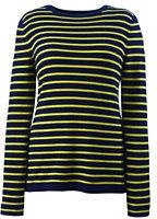 Classic Women's Plus Size Cashmere Tee Stripe Sweater-Vibrant Yellow Stripe