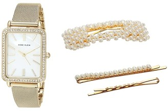 Anne Klein Watch and Hair Clip Set (Gold-Tone) Watches
