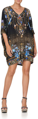 Camilla Short Batwing-Sleeve Baroque Dress
