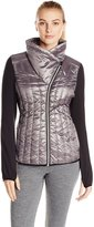 Calvin Klein Women's Down Filled Metallic Jacket with Jersey Sleeves