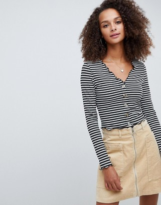 Asos Design DESIGN v neck top in rib with button front and long sleeve in stripe-Multi