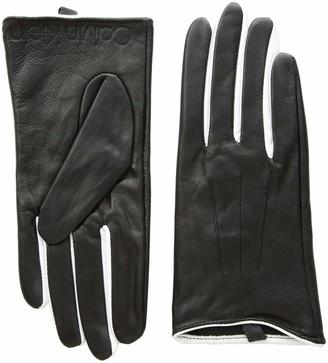 Calvin Klein Women's Leather Gloves W/Color POP & Debossed Logo