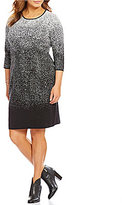 Vince Camuto Plus 3/4 Sleeve Ombre Jacquard Sweater Shift Dress