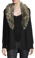 Joie Evina Open-Front Cardigan w/Detachable Faux Fur Collar, Caviar