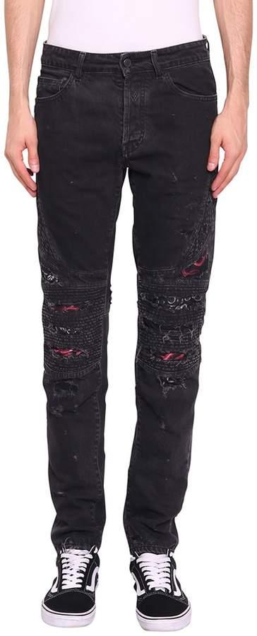 Marcelo Burlon County of Milan Snake Biker Denim Cotton Jeans