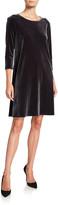 Caroline Rose Petite Round-Neck 3/4-Sleeve A-Line Stretch-Velvet Dress