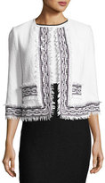 St. John Clair Knit 3/4-Sleeve Fringe-Trim Jacket, White/Black