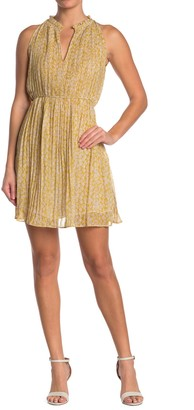 See U Soon High Ruffle Trim Collar Pleated Dress