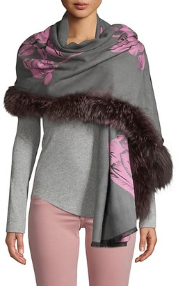 Belle Fare Silver Fox Fur-Trim Wool-Blend Floral Scarf
