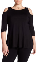 Chelsea & Theodore Cold Shoulder Swing Shirt (Plus Size)