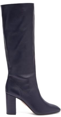 Aquazzura Boogie 85 Block-heel Leather Knee-high Boots - Navy