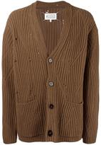 Maison Margiela distressed effect ribbed cardigan - men - Wool - M