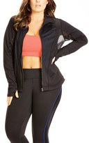 City Chic Plus Size Women's Mixed Media Performance Jacket