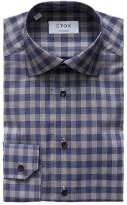 Eton Contemporary-Fit Lightweight Plaid Flannel Dress Shirt