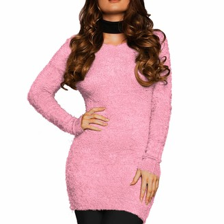 Xpose Ladies Soft Fluffy Knit Round Neck Mohair Look Jumper Top Wine Black Coral Cream Fuchsia Mustard Navy Pink Royal Blue Silver Grey Small Medium Large 8 10 12 14 (Pink Medium-Large)
