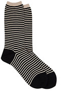 Antipast Women's Striped Mid-Calf Socks-BLACK