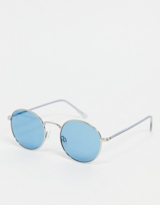 Jeepers Peepers unisex round sunglasses in blue