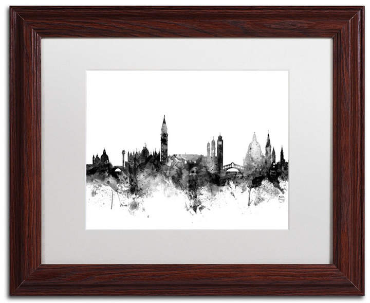 """Michael Tompsett 'Venice Italy Skyline B & W' Matted Framed Art - 11"""" x 14"""""""