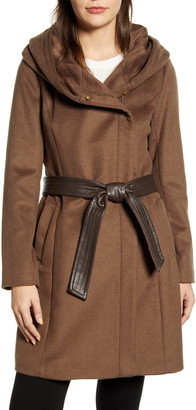 Cole Haan Signature Belted Asymmetrical Wool Coat