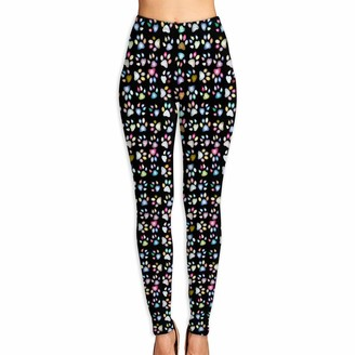 Irener Yoga Pant Sport Workout Leggings Colorful Dog Paw Print Provide Women with High-Waisted