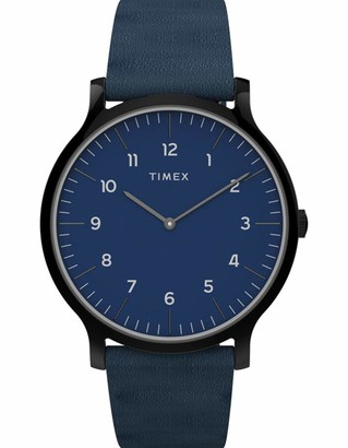 Timex Men's Norway 40mm Watch Blue Dial & Black Case with Blue Genuine Leather Strap