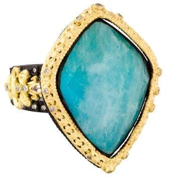 Armenta Turquoise Moonstone Doublet & Diamond Old World Cocktail Ring