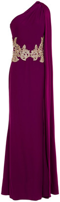 Alexander McQueen One-shoulder Draped Embellished Crepe Gown