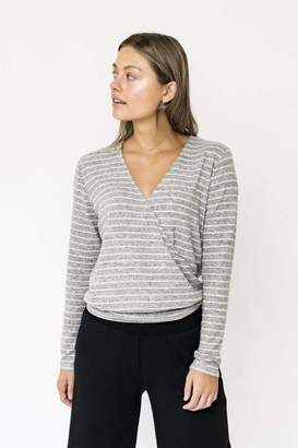 Gibson Cozy Fleece Surplice Wrap Top