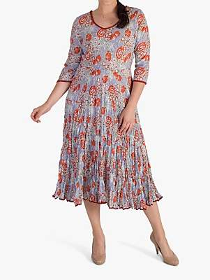 chesca Trim Tiered Floral Print Crushed Cotton Dress, Coral