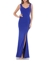 JS Collections V Neck Banded Ottoman Gown