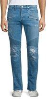 Hudson Blinder Distressed Moto Denim Jeans, Light Blue