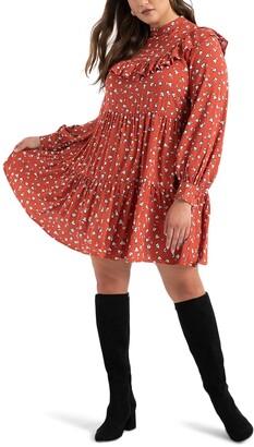 ELOQUII Ruffle Yoke Tiered Long Sleeve Dress