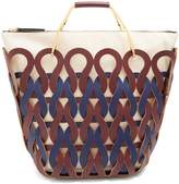 Marni Coral laser-cut leather and canvas tote