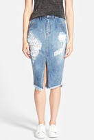 One Teaspoon Cadillac Destroyed Denim Pencil Skirt