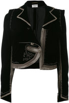 Saint Laurent gold-tone trim jacket - women - Cotton/Cupro/Viscose - 38