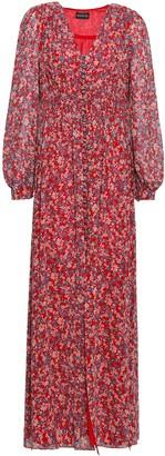 Nicholas Pleated Floral-print Silk-georgette Maxi Dress