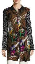 Etro Floral Silk Shirt Coat, Black/Multi