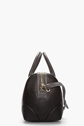 Givenchy Black pebbled leather striped Medium Lucrezia duffle
