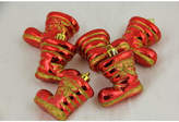 Asstd National Brand Pack of 6 Red Shiny Shatterproof Glitter Boot Christmas Ornaments 2