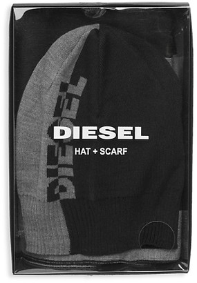Diesel Colorblock Logo Hat and Scarf Set