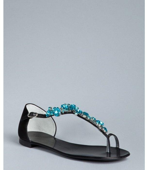 Giuseppe Zanotti black satin jeweled toe ring sandals