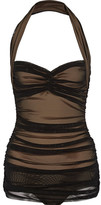 Norma Kamali Bill Mio Ruched Stretch-tulle Swimsuit - Black