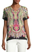 Etro Ikat-Trim Paisley V-Neck Tee, Black/Multi