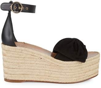 Valentino Garavani Rosso Bow Leather Wedge Sandals
