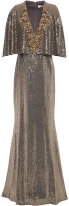 Badgley Mischka Cape-effect Embellished Gown