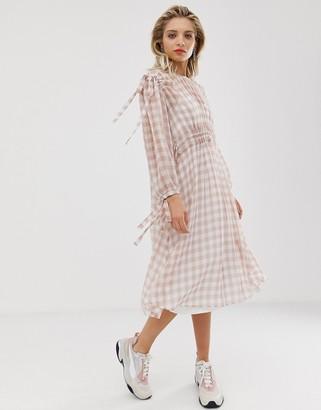 Asos gingham ruched waist dress-Pink