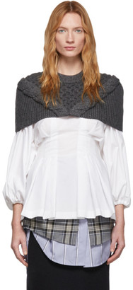 Enfold Grey Cable Knit Cape Sweater