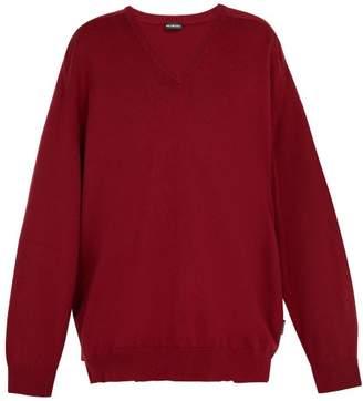 Balenciaga Cashmere V-neck Sweater - Mens - Red