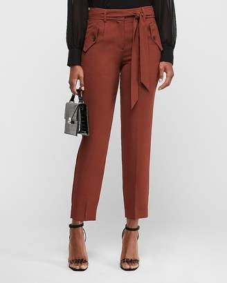 Express High Waisted Side Button Pocket Paperbag Pant