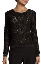 Romeo & Juliet Couture Cotton-Blend Long Sleeve Lace Top